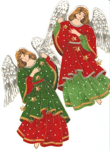 Large Christmas Angels - Iron On Fabric Appliques width